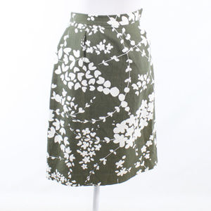 Michael Kors green linen blend A-line skirt 4